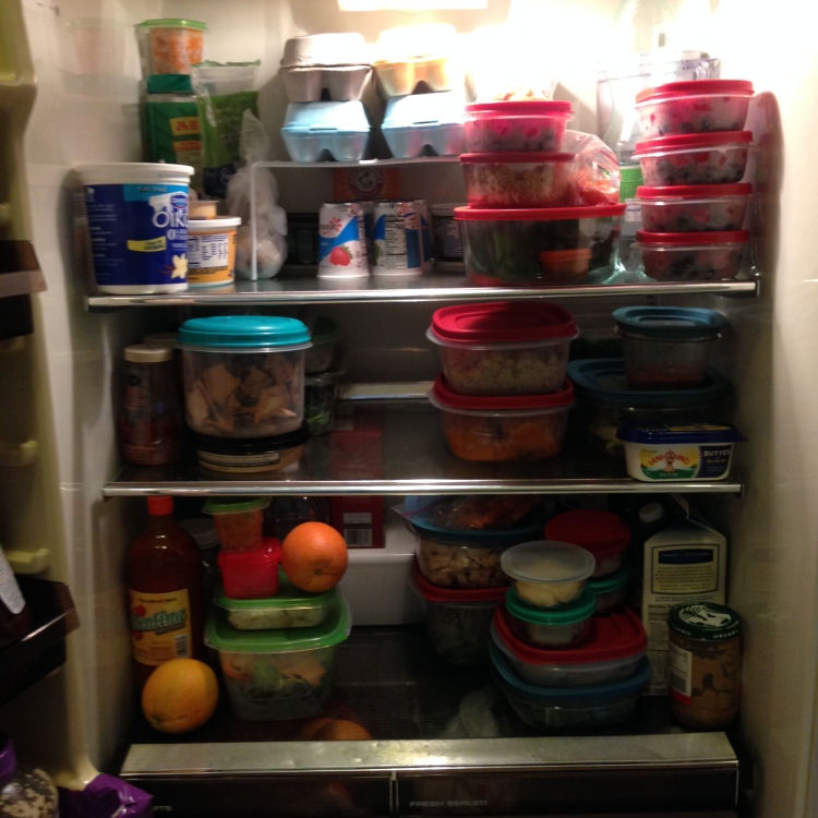 Roommate and my fridge last night after we both prepped for today/the week.