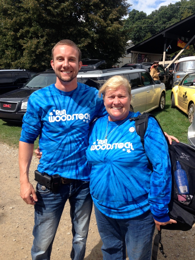 Andrew and my mom in their volunteer shirts after the race!